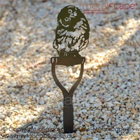 Boobook Fledgling (Mopoke) Owl on Spade Handle
