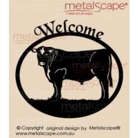 Medium Oval Welcome Sign - Angus Bull