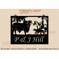 Medium Property Sign  Brahman Bull and Horse rider