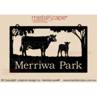Large Property Sign - Hereford Cow & Calf