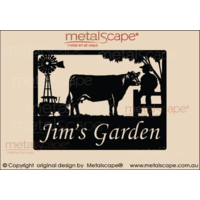 Medium Property Sign - Angus Cow, Tractor and  Windmill