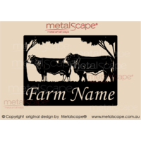 Medium Property Sign - Simmental Bull and Cow