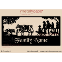 XL Property Sign - Friesian Cattle and Family
