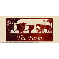 XL Property Sign - Belted Galloways, Rider, Collie & Windmill