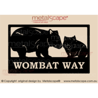 Large Property Sign - Wombat Adult and Joey