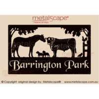 Large Property Sign - Angus Steer, Horse & Staffy Dogs