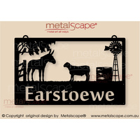 Large Property Sign -  Donkey, Dorper Sheep, Kookaburra, Windmill and Tank