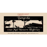 Panoramic Property Sign -Braford Cow, Windmill, Kangaroos, Blue Healer and Kenworth Truck
