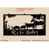 XL Property Sign - Horse Scene with Labrador and Staffy