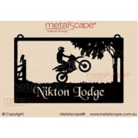 Large Property Sign Motor Bike Rider