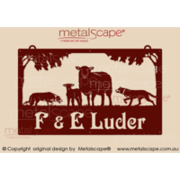Large Property Sign - Cross bred Ewe & Lamb with collie and kelpie