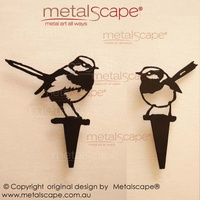 Set of 2 Wrens on Spikes - Black Painted Finish
