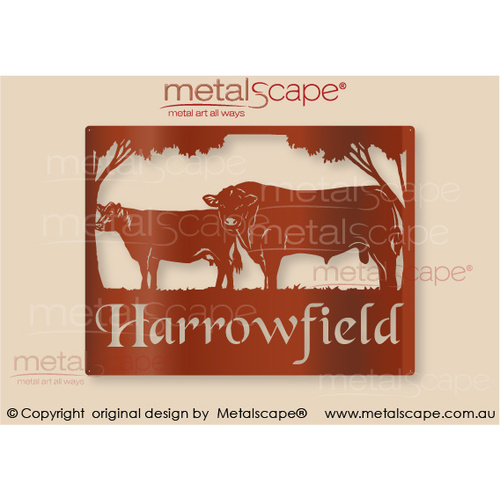 Medium Property Sign - Angus Bull & Cow
