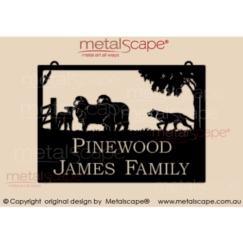 Large Property Sign - 2  Merinos Lamb & Kelpie
