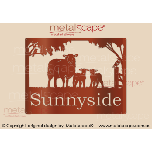 Medium Property Sign - Crossbreed Ewe and Lambs